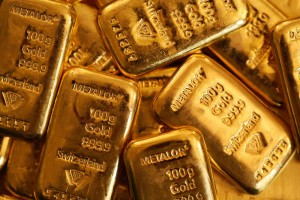 One hundred gram gold bars at Gold Investments Ltd. bullion dealers in London, U.K., on Tuesday, July 15, 2014.