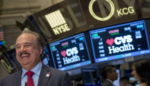 CVS Health President and CEO Larry J. Merlo gives an interview on the floor of the New York Stock Exchange September 3, 2014. CVS has said they will stop selling all tobacco products. REUTERS/Brendan McDermid (UNITED STATES - Tags: BUSINESS HEALTH) - RTR44T18