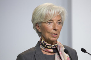 Christine Lagarde, managing director of the International Monetary Fund (IMF), speaks at Goethe university in Frankfurt, Germany, on Tuesday, April 5, 2016. The global recovery is facing growing risks, and frustration with inequality is increasing the lure of protectionism, Lagarde said. Photographer: Jasper Juinen/Bloomberg via Getty Images