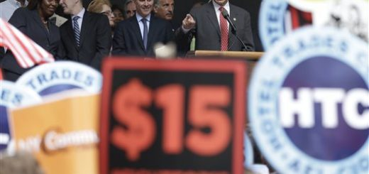 New York Gov. Andrew Cuomo speaks during a rally after the New York Wage Board endorsed a proposal to set a $15 minimum wage for workers at fast-food restaurants with 30 or more locations, Wednesday, July 22, 2015 in New York. The increase would be phased in over three years in New York City and over six years elsewhere. (AP Photo/Mary Altaffer)